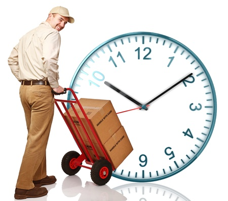 time to work: classic watch and delivery man with handtruck