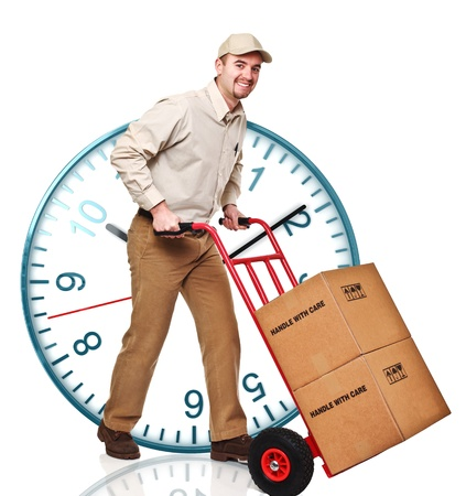 classic watch and delivery man with handtruck photo