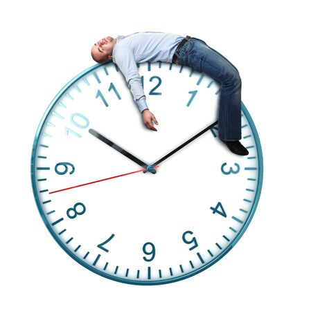 classic watch isolated on white background and tired sleeping man Stock Photo - 8643534