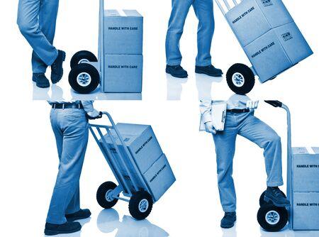 handtruck:  delivery man detail blue tone business background