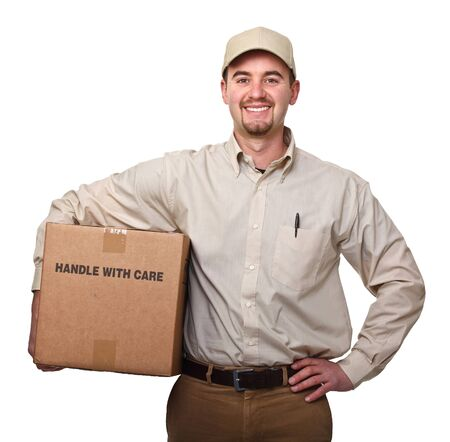 deliver: delivery man portrait on white background