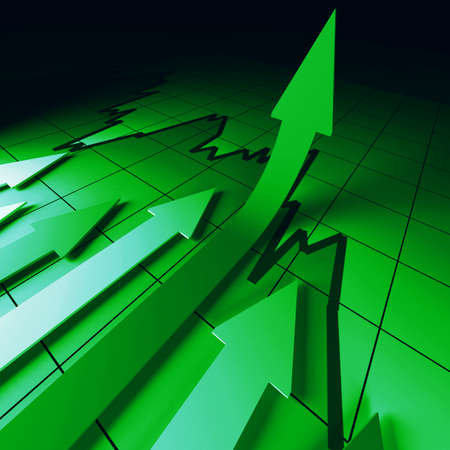 green arrows chart fine 3d business background photo