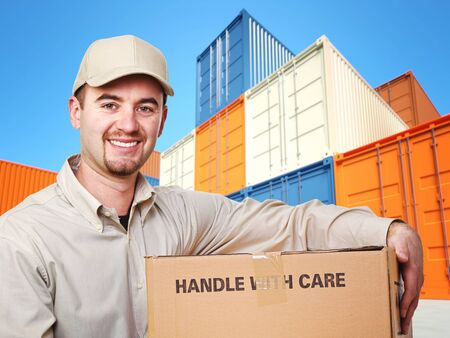 delivery man and industrial container 3d fine background Stock Photo - 8706248