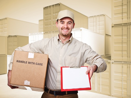 import and export business: delivery man at work and 3d container sepia background