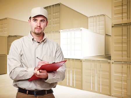 customs: manual worker portrait and 3d container background Stock Photo