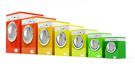 appliance: 3d washing machine with energetic class color Stock Photo