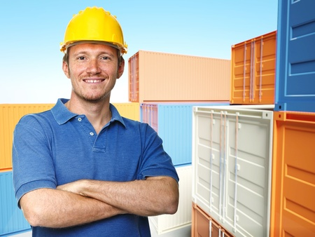 smiling worker and  classic container 3d background photo