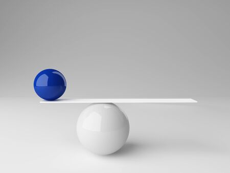 3d image of ball rendering in false balance photo