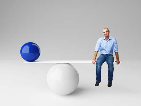 smiling man on 3d balance with blue ball photo