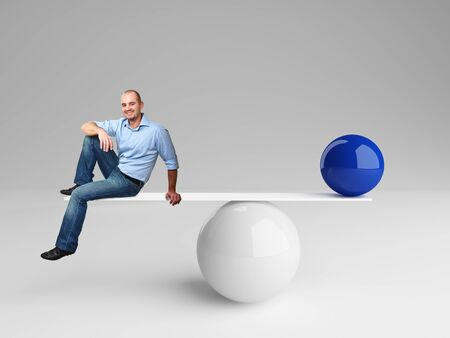 stability: smiling man on 3d balance with blue ball Stock Photo