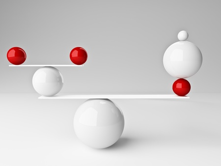 stability: fine 3d image of red and white balanced balls background
