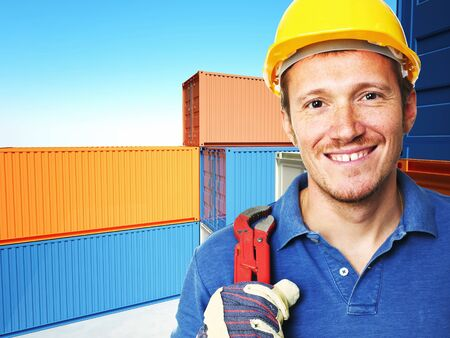 manual worker portrait  and  classic container 3d background Stock Photo - 8706274