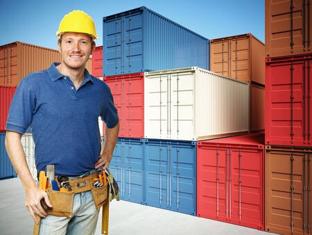 smiling handyman and 3d container background Stock Photo - 8706275
