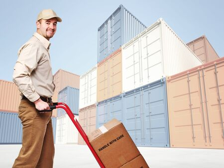 smiling delivery man and industrial container 3d fine background Stock Photo - 8706270