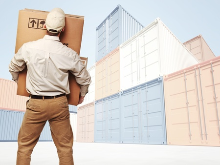 commercial vehicle: delivery man and industrial container 3d fine background Stock Photo