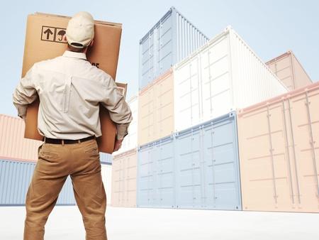 transport: Lieferung Mann und industrielle Container 3d prima Hintergrund