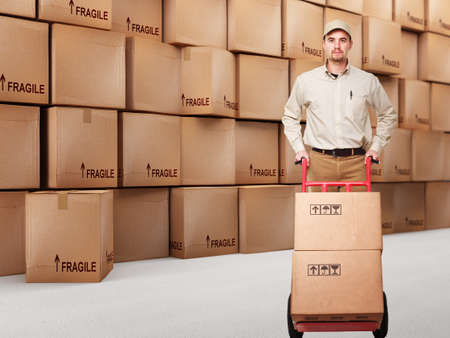 delivery service: delivery man at work and 3d boxes background
