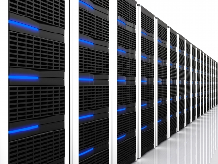 3d image of datacentre with lots of server photo