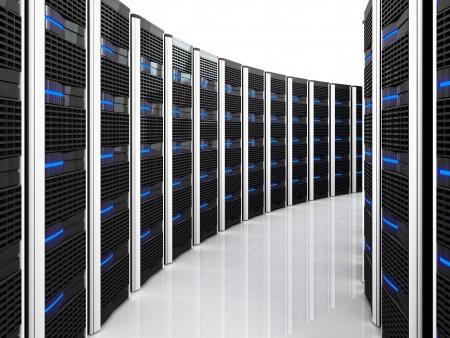 rechenzentrum: 3D Abbild des Datencenters mit vielen server Lizenzfreie Bilder