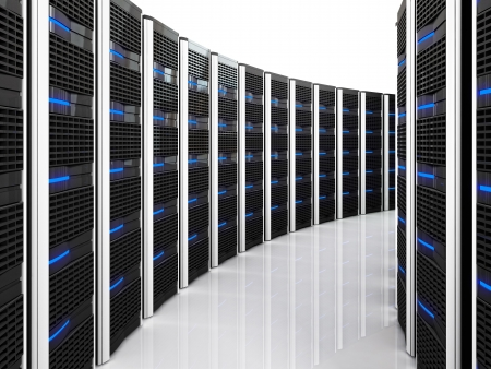 3d image of datacenter with lots of server photo