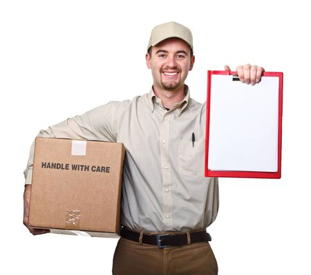 delivery man: smiling delivery man isolated on white background