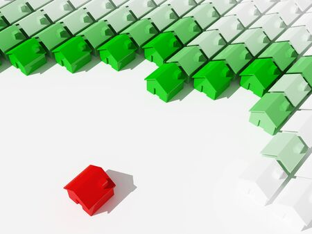 real estate: red and green 3d houses on white plane