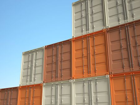 classic 3d metal container on blue sky background Stock Photo - 8815292