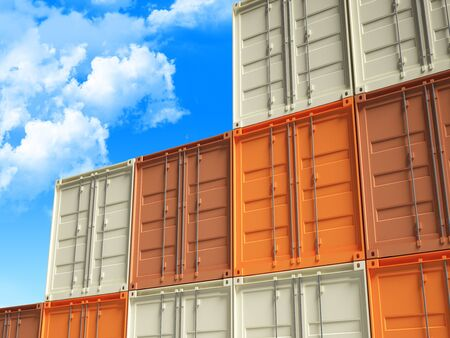 fine 3d image of classic metal container and cloudy sky background Stock Photo - 8815108