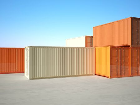 classic 3d metal container on blue sky background photo