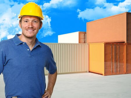 handyman  container and blue sky with clouds background Stock Photo - 8815294