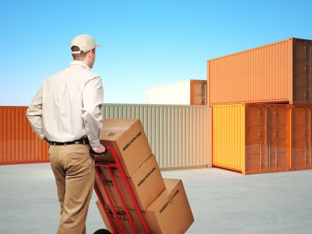 delivery man and classic 3d metal container on blue sky background photo