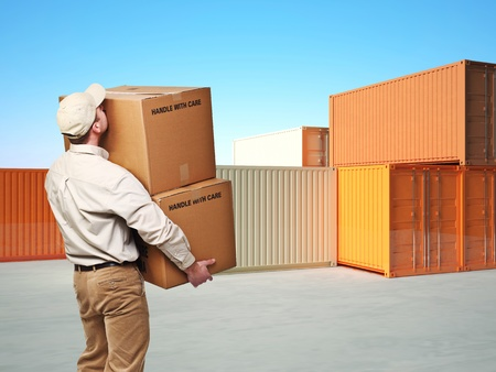 delivery man and classic 3d metal container on blue sky background Stock Photo - 8815293
