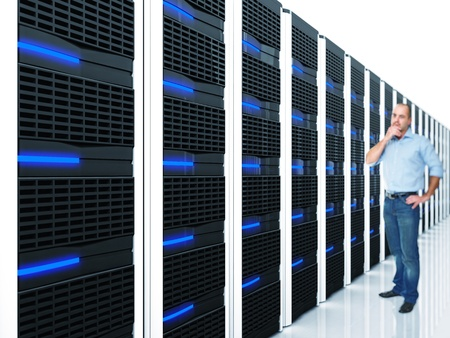 man and datacentre with lots of server selective focus image photo