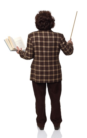 standing senior woman teacher on white background Stock Photo - 8815325