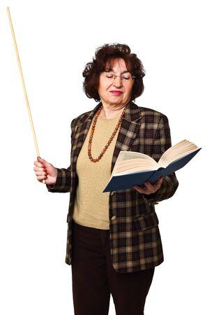 caucasian senior woman teaching isolated on white background photo
