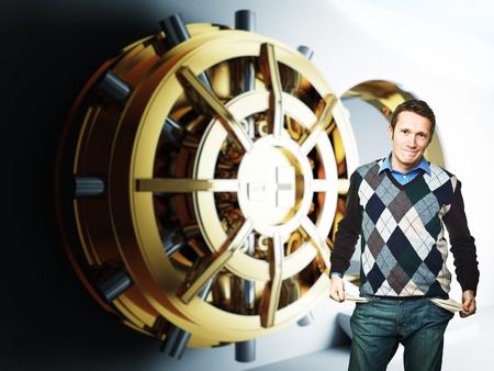 empty pocket man and bank golden vault door 3d Stock Photo - 8815362