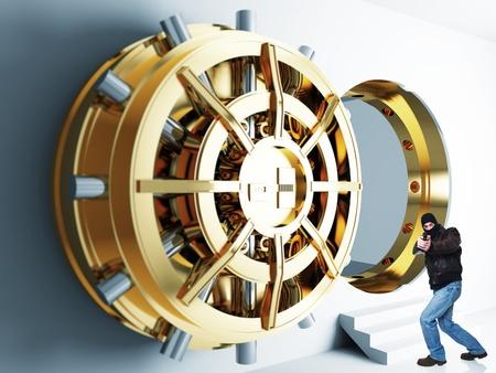 武装した泥棒と黄金金庫室ドアの 3d
