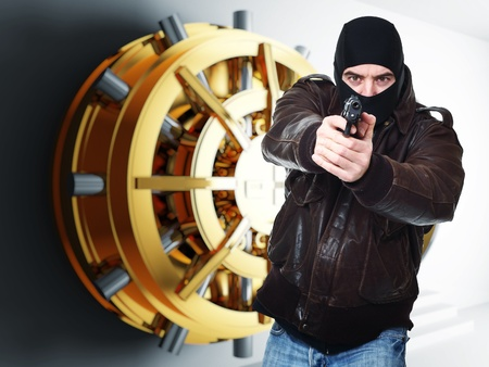 balaclava: armed thief and bank golden vault door 3d  Stock Photo