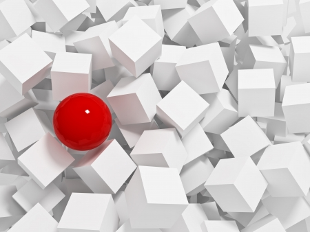 red sphere: red sphere 3d and white cubes background Stock Photo