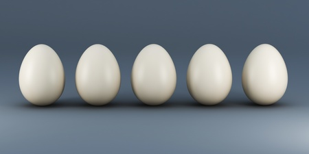 choise: 3d illustration of five gray eggs abstract background Stock Photo