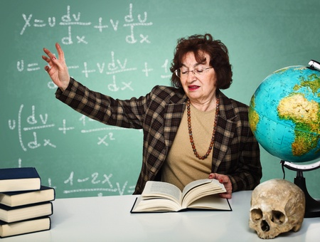 teaching adult: caucasian old teacher take lesson with classic board background