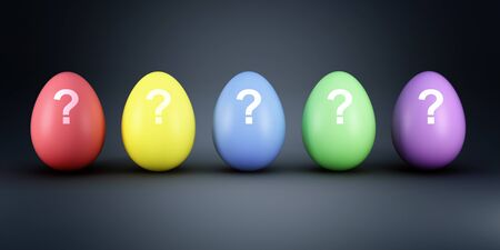 choise: 3d illustration of different colorful eggs background Stock Photo