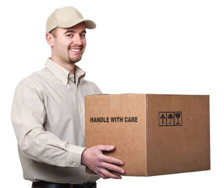 delivery man: fine portrait of caucasian delivery man holding box isolated on white