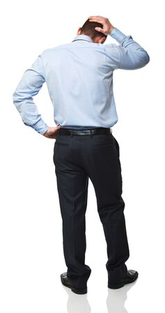 back view of caucasian man standing on white background
