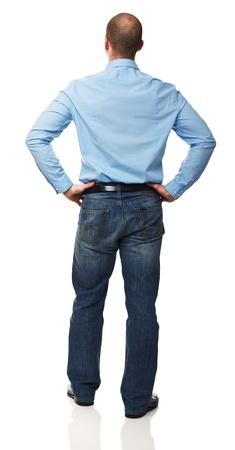 young man standing: standing man back view isolated on white