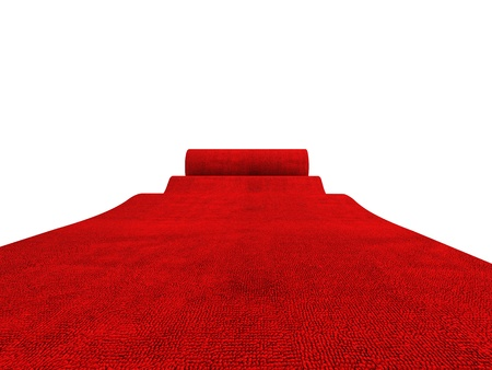 fabric roll: classic rolling red carpet on white background