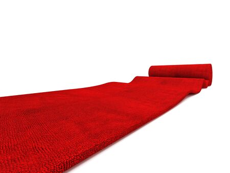 classic rolling red carpet on white background photo