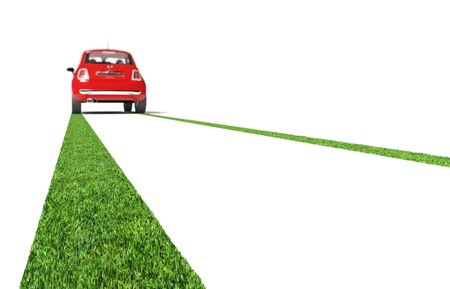 eco car: fine 3d image of red car and grenn grass trace Stock Photo