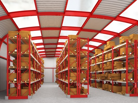 fine 3d image of modern red and gray warehouse photo