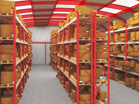 fine 3d image of modern red and gray warehouse Stock Photo - 9147363